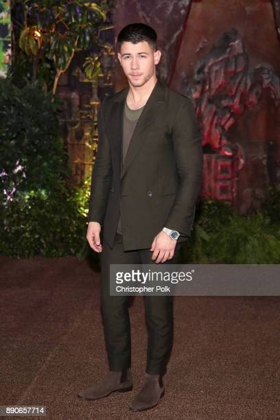 Nick Jonas attends the premiere of Columbia Pictures' 'Jumanji Welcome To The Jungle' on December 11 2017 in Hollywood California