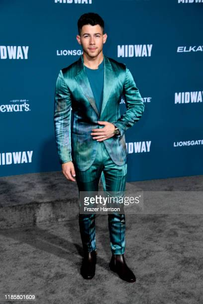 Nick Jonas attends the Premiere Of Lionsgate's Midway at Regency Village Theatre on November 05 2019 in Westwood California