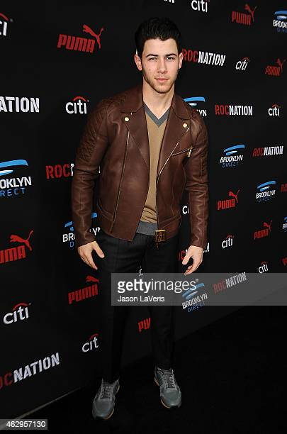 Nick Jonas attends the Roc Nation Grammy brunch on February 7 2015 in Beverly Hills California