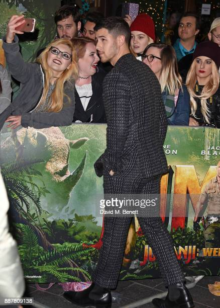 Nick Jonas attends the UK Premiere of 'Jumanji Welcome To The Jungle' at Vue West End on December 7 2017 in London England