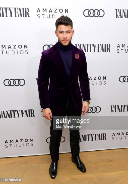 Nick Jonas attends Vanity Fair Amazon Studios and Audi Celebrate The 2020 Awards Season at San Vicente Bungalows on January 04 2020 in West Hollywood...