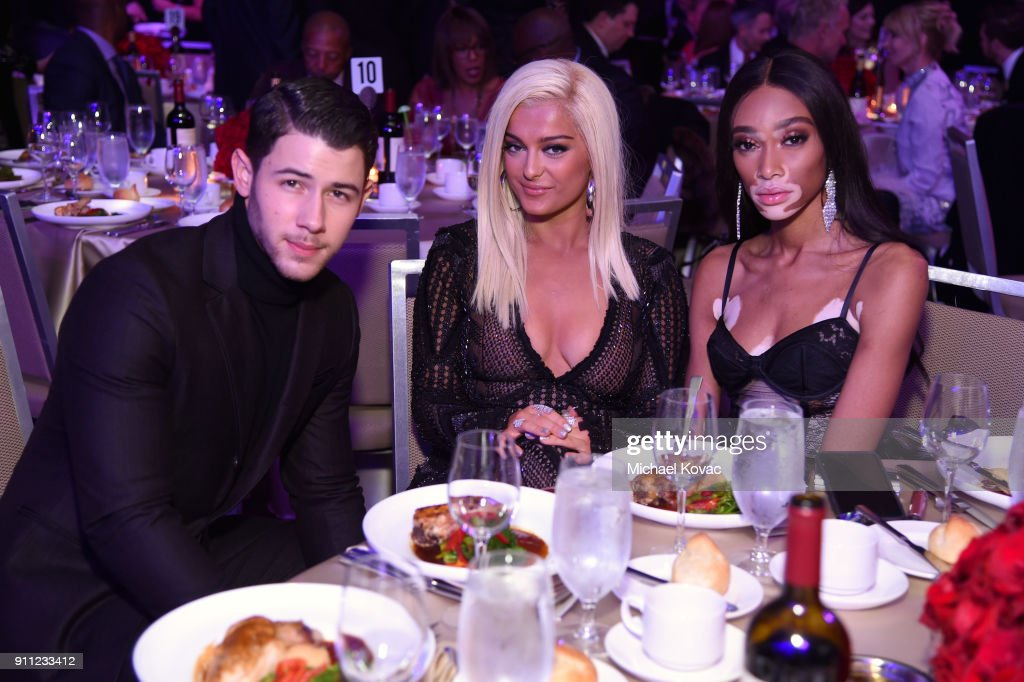 Nick Jonas, Bebe Rexha, and Winnie Harlow attend the Clive Davis and Recording Academy Pre-GRAMMY Gala and GRAMMY Salute to Industry Icons Honoring Jay-Z on January 27, 2018 in New York City.