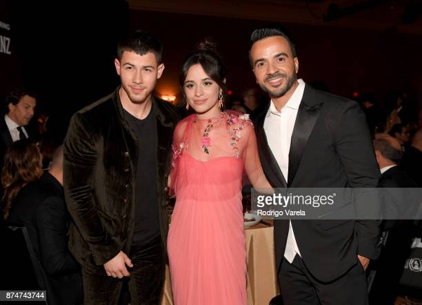 Nick Jonas Camila Cabello and Luis Fonsi attend the 2017 Person of the Year Gala honoring Alejandro Sanz at the Mandalay Bay Convention Center on...