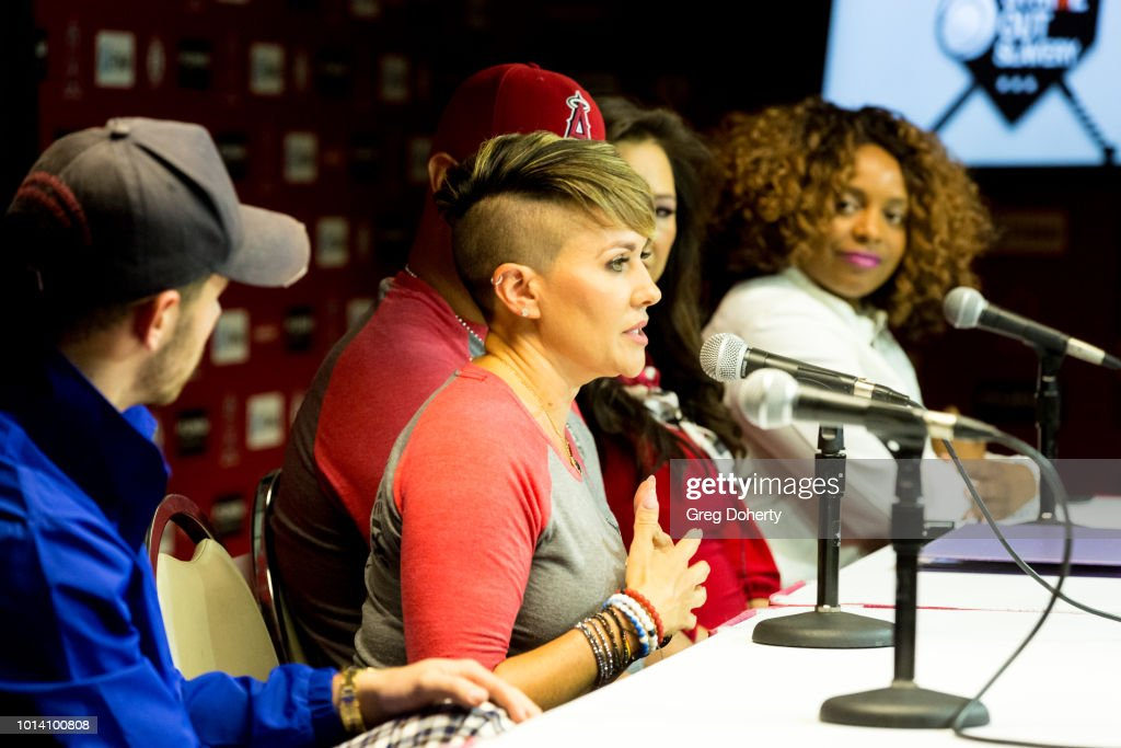Nick Jonas Deidre Pujols, Albert Pujols, Susan Kang Schroeder and Survivor Advocate Stacy Jewell attend the Strike Out Slavery Press Conference at Angel Stadium on August 9, 2018 in Anaheim, California.