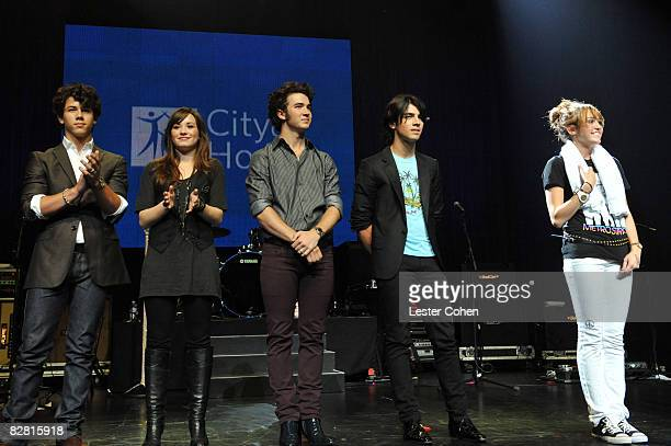 Nick Jonas Demi Lovato Kevin Jonas Joe Jonas and Miley Cyrus attend the City of Hope Benefit Concert with Miley Cyrus Jonas Brothers at the Gibson...