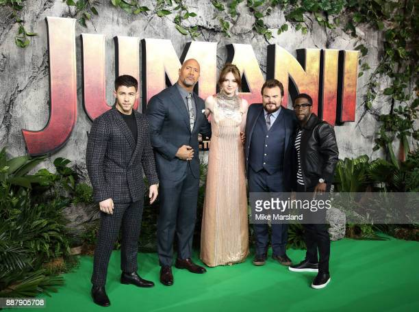 Nick Jonas Dwayne Johnson Karen Gillan Jack Black and Kevin Hart attend the 'Jumanji Welcome To The Jungle UK premiere held at Vue West End on...