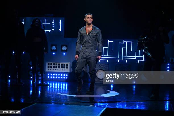 """Nick Jonas"""" Episode 1799 -- Pictured: Musical guest Nick Jonas performs on Saturday, February 27, 2021 --"""