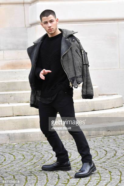 Nick Jonas is seen arriving at Balmain fashion show during Paris Fashion Week Womenswear Fall/Winter 2017/2018 on March 2 2017 in Paris France