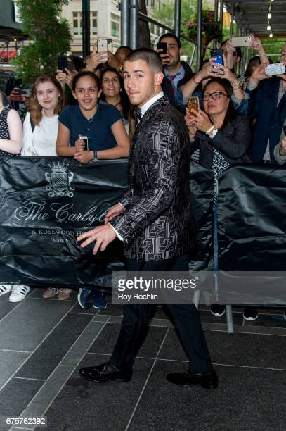 NIck Jonas is seen departing the Carlyle Hotel to attend 'Rei Kawakubo/Comme des Garcons Art Of The InBetween' Costume Institute Gala on May 1 2017...