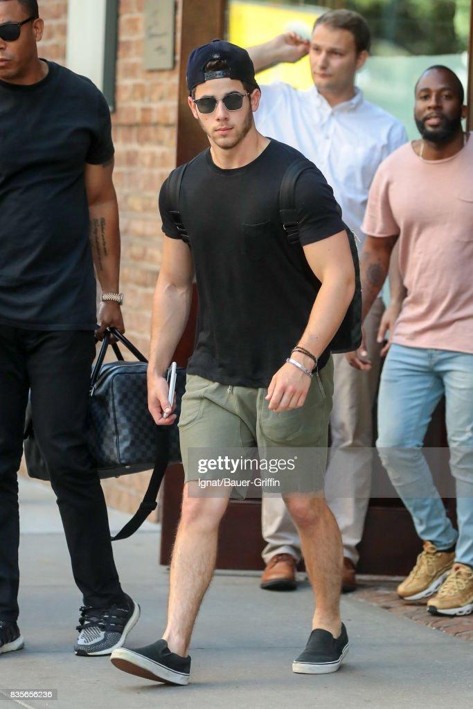 Nick Jonas is seen on August 19, 2017 in New York City.