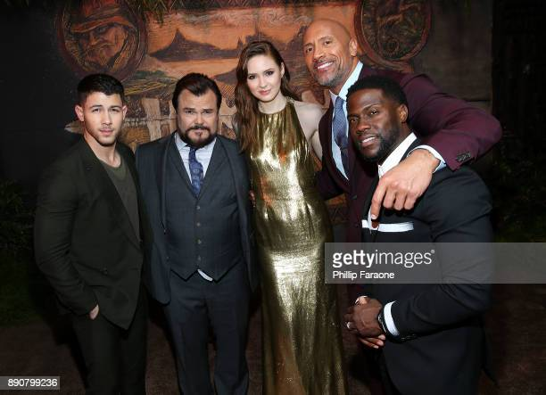 Nick Jonas Jack Black Karen Gillan Dwayne Johnson and Kevin Hart attend the premiere of Columbia Pictures' Jumanji Welcome To The Jungle on December...