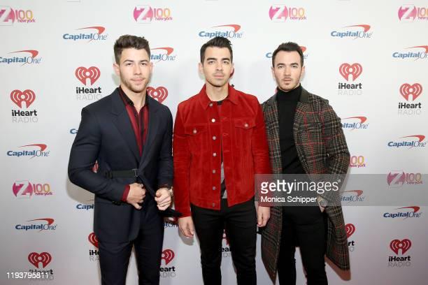 Nick Jonas, Joe Jonas, and Kevin Jonas arrive at iHeartRadio's Z100 Jingle Ball 2019 at Madison Square Garden on December 13, 2019 in New York City.