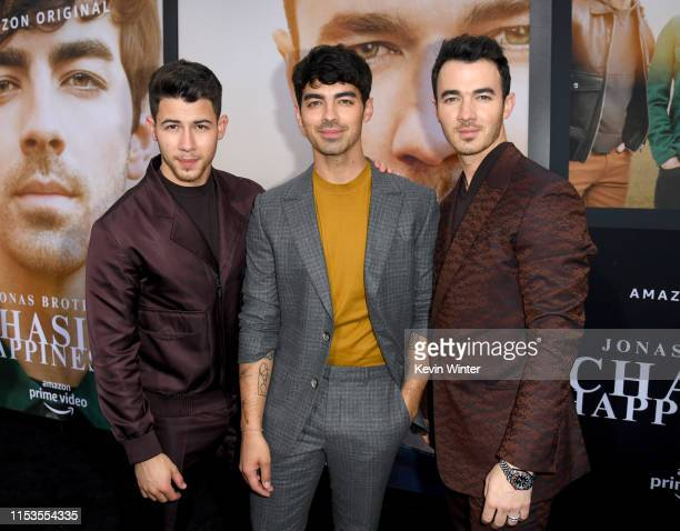 Nick Jonas Joe Jonas and Kevin Jonas attend the Premiere of Amazon Prime Video's 'Chasing Happiness' at Regency Bruin Theatre on June 03 2019 in Los...