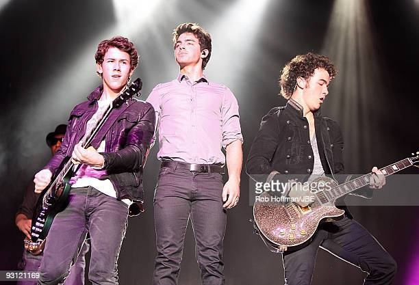 Nick Jonas Joe Jonas and Kevin Jonas of Jonas Brothers perform onstage at The Palladium on November 15 2009 in Cologne Germany