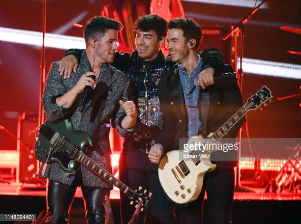 Nick Jonas Joe Jonas and Kevin Jonas of Jonas Brothers perform during the 2019 Billboard Music Awards at MGM Grand Garden Arena on May 1 2019 in Las...
