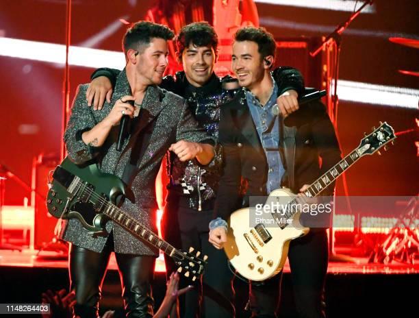 Nick Jonas Joe Jonas and Kevin Jonas of Jonas Brothers perform during the 2019 Billboard Music Awards at MGM Grand Garden Arena on May 1 2019 in Las...