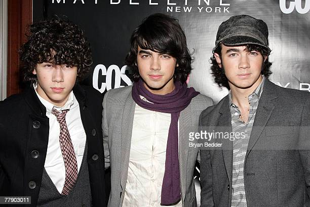 Nick Jonas Joe Jonas and Kevin Jonas of the band The Jonas Brothers arrive at the 2007 CosmoGIRL Born to Lead Awards at Hearst Tower on November 13...