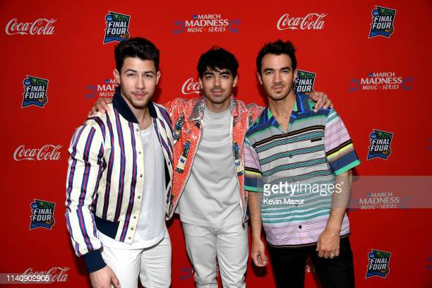 Nick Jonas Joe Jonas and Kevin Jonas of the Jonas Brothers attend the March Madness Music Series featuring Jonas Brothers presented by CocaCola...