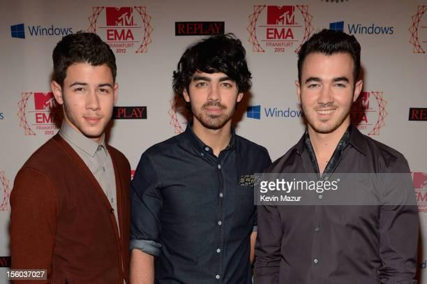 Nick Jonas Joe Jonas and Kevin Jonas of The Jonas Brothers attend the MTV EMA's 2012 at Festhalle Frankfurt on November 11 2012 in Frankfurt am Main...