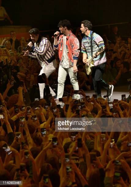 Nick Jonas Joe Jonas and Kevin Jonas of the Jonas Brothers perform onstage at the March Madness Music Series featuring Jonas Brothers presented by...