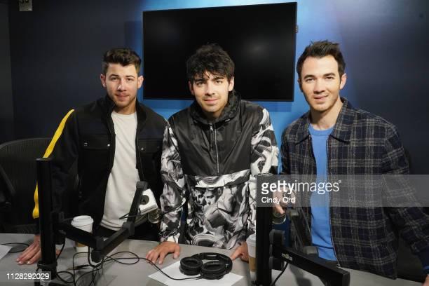 Nick Jonas Joe Jonas and Kevin Jonas of The Jonas Brothers visit the SiriusXM studios on March 1 2019 in New York City