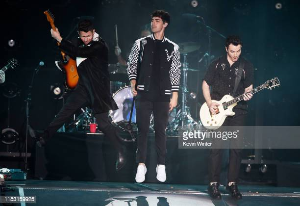 Nick Jonas Joe Jonas and Kevin Jonas perform onstage at 2019 iHeartRadio Wango Tango presented by The JUVÉDERM® Collection of Dermal Fillers at...