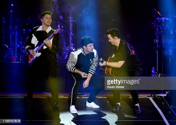 Nick Jonas Joe Jonas and Kevin Jonas performs onstage at 2019 iHeartRadio Wango Tango presented by The JUVÉDERM® Collection of Dermal Fillers at...