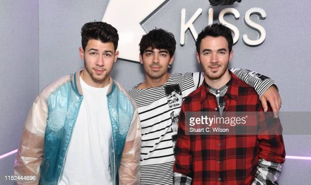 Nick Jonas Joe Jonas and Kevin Jonas visit the Kiss FM Studio's on May 29 2019 in London England