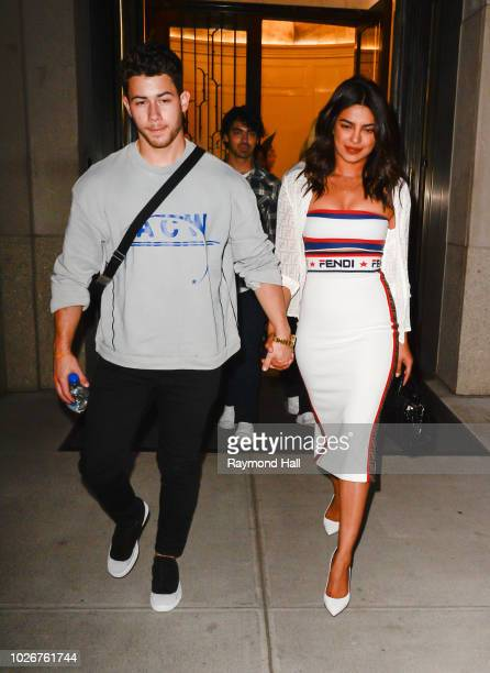 Nick Jonas Joe Jonas and Priyanka Chopra are seen in Soho on September 4 2018 in New York City