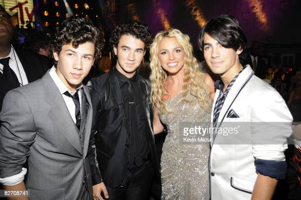 Nick Jonas Kevin Jonas Britney Spears and Joe Jonas backstage at the 2008 MTV Video Music Awards at Paramount Pictures Studios on September 7 2008 in...