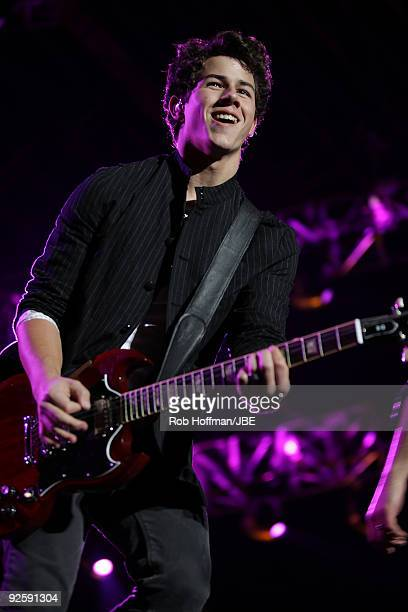 Nick Jonas of Jonas Brothers performs at Foro Sol on October 31, 2009 in Mexico City, Mexico.