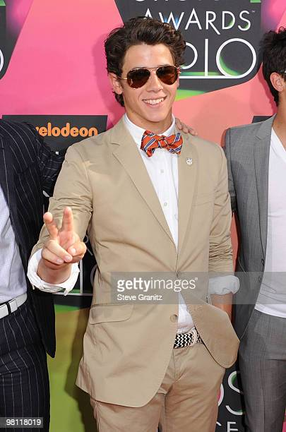 Nick Jonas of the Jonas Brothers arrives at Nickelodeon's 23rd Annual Kids' Choice Awards held at UCLA's Pauley Pavilion on March 27, 2010 in Los...