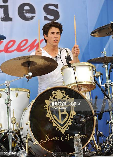 """Nick Jonas of the Jonas Brothers perform for ABC's """"Good Morning America"""" summer concert series at Rumsey Playfield on May 21, 2010 in New York City."""