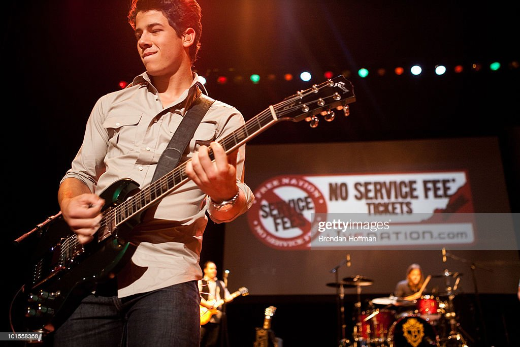 Nick Jonas of the Jonas Brothers perform for the Live Nation NSF Event at the Warner Theatre on June 2, 2010 in Washington, DC.