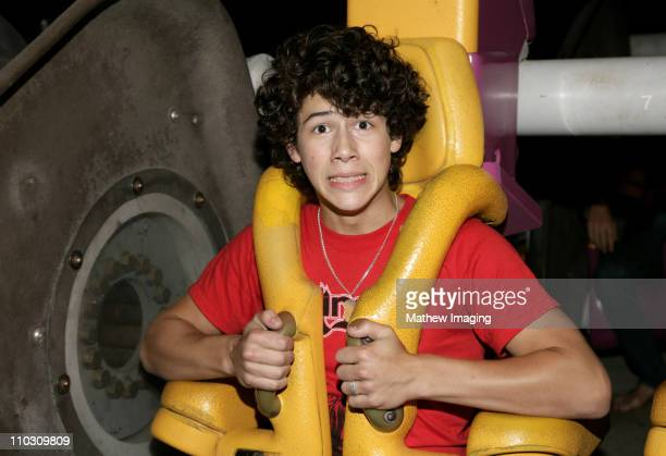 Nick Jonas on X during Miley Cyrus and The Jonas Brothers Visit Six Flags Magic Mountain at Six Flags Magic Mountain in Valencia California United...