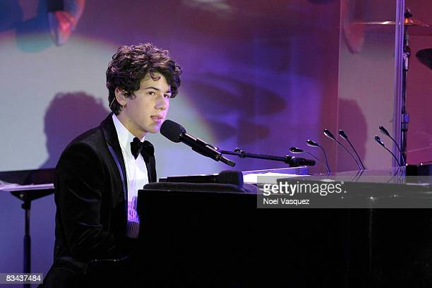 Nick Jonas performs on stage at the 30th Anniversary Carousel Of Hope Ball at The Beverly Hilton Hotel on October 25, 2008 in Beverly Hills,...