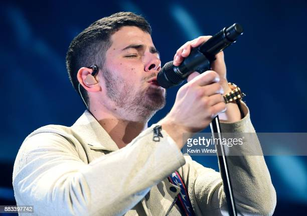 Nick Jonas performs onstage at WiLD 949's FM's Jingle Ball 2017 Presented by Capital One at SAP Center on November 30 2017 in San Jose California
