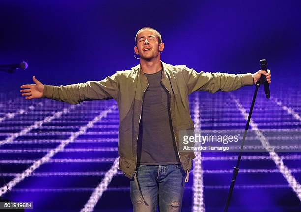 Nick Jonas performs onstage at Y100's Jingle Ball 2015 at BBT Center on December 18 2015 in Sunrise Florida