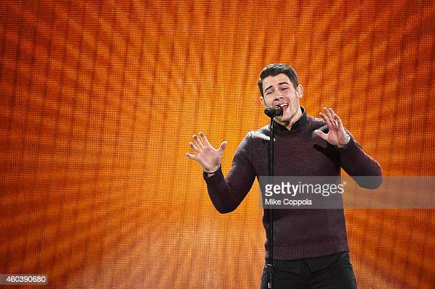 Nick Jonas performs onstage during iHeartRadio Jingle Ball 2014 hosted by Z100 New York and presented by Goldfish Puffs at Madison Square Garden on...