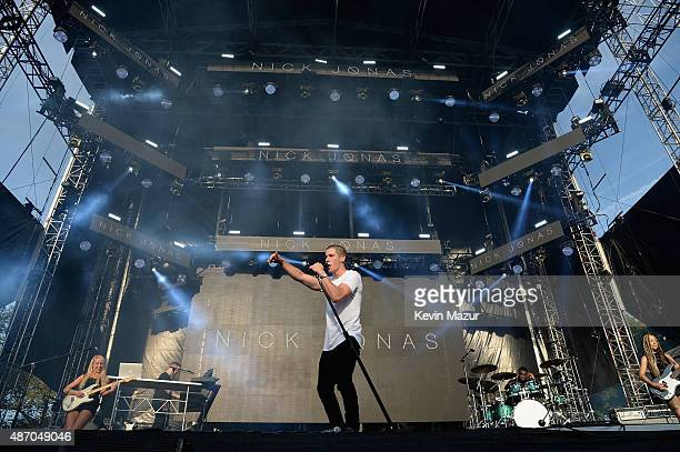 Nick Jonas performs onstage during the 2015 Budweiser Made in America Festival at Benjamin Franklin Parkway on September 5 2015 in Philadelphia...