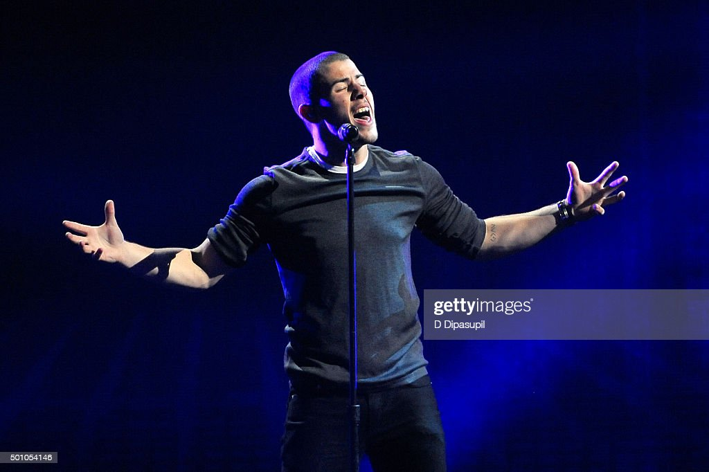 Nick Jonas performs onstage during Z100's iHeartRadio Jingle Ball 2015 at Madison Square Garden on December 11, 2015 in New York City.