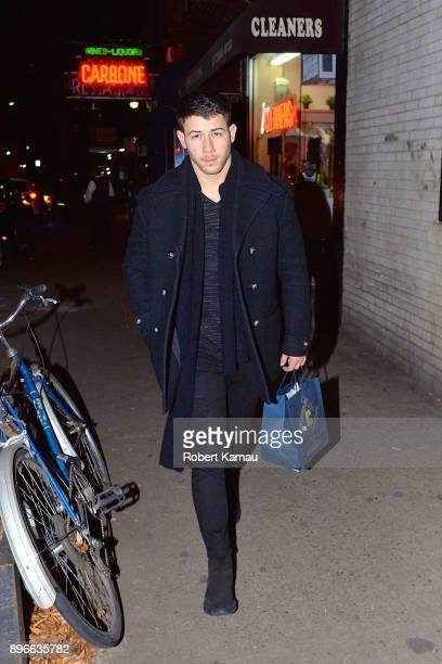 Nick Jonas seen leaving a restaurant in Manhattan on December 20 2017 in New York City