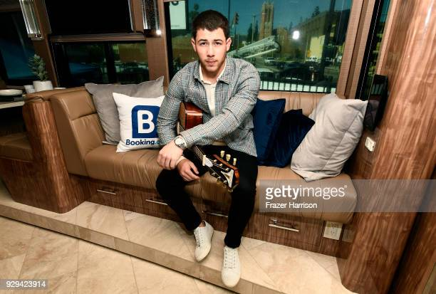 Nick Jonas shows off his Ultimate Tour Bus featured on the Bookingcom 'Book the US' List on March 8 2018 in Los Angeles California