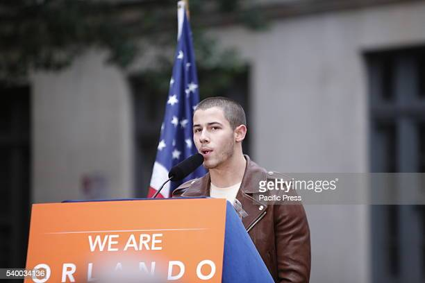 Nick Jonas speaks NY governor Andrew Cuomo NYC mayor Bill de Blasio appeared together on Christopher Street in front of the historic Stonewall Inn to...