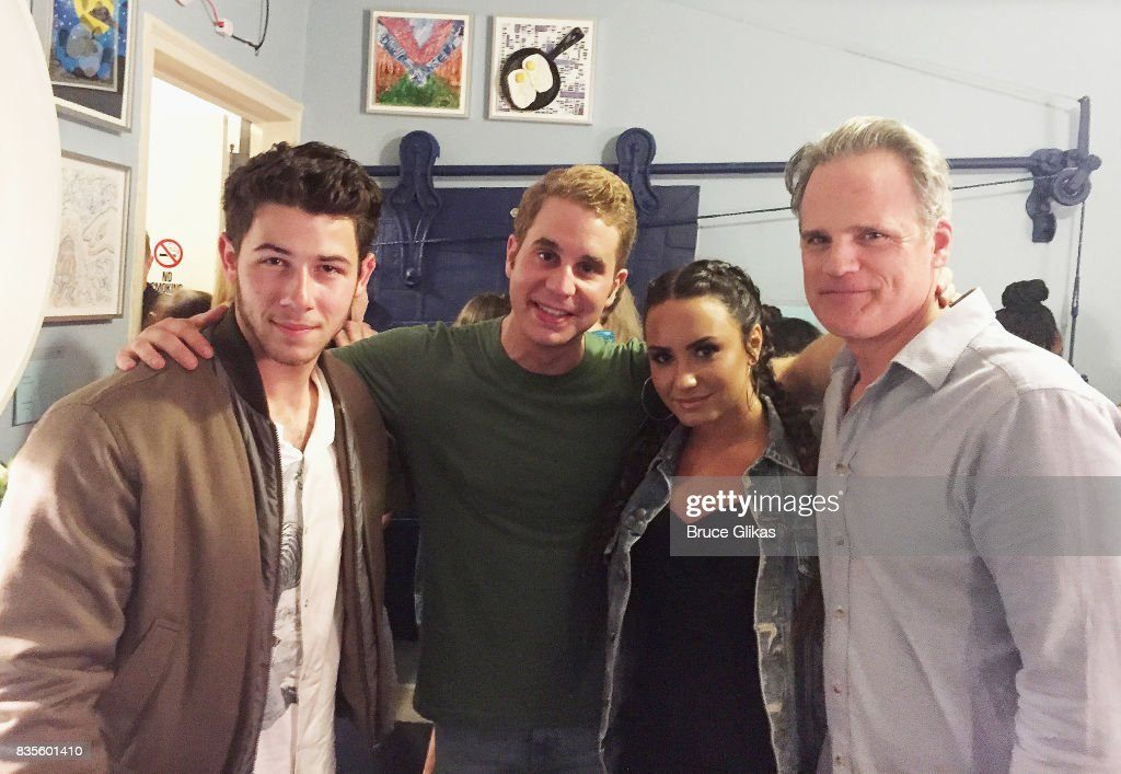 Nick Jonas, Tony Winner Ben Platt, Demi Lovato and Michael Park pose backstage at the musical 'Dear Evan Hansen' on Broadway at The Music Box Theatre on August 19, 2017 in New York City.