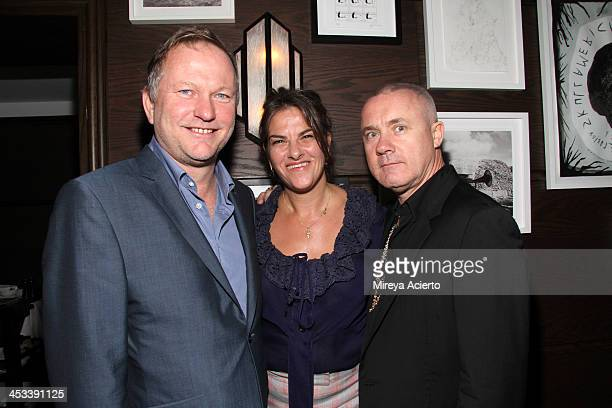 Nick Jones, artists Tracey Emin and Damien Hirst at the Tracey Emin dinner hosted by Phillips and Vanity Fair at Cecconi's at Soho Beach House on...