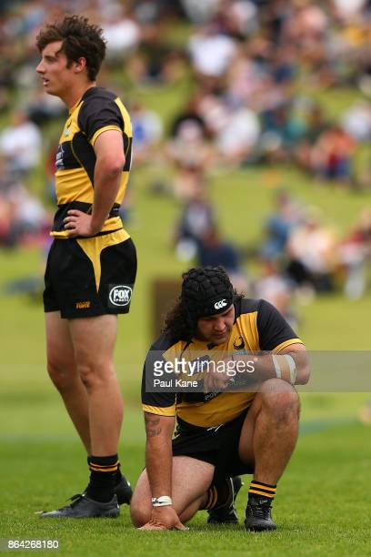 Nick Jooste and Anaru Rangi of the Spirit look on following a Rays try during the round eight NRC match between Perth and the Sydney Rays at...
