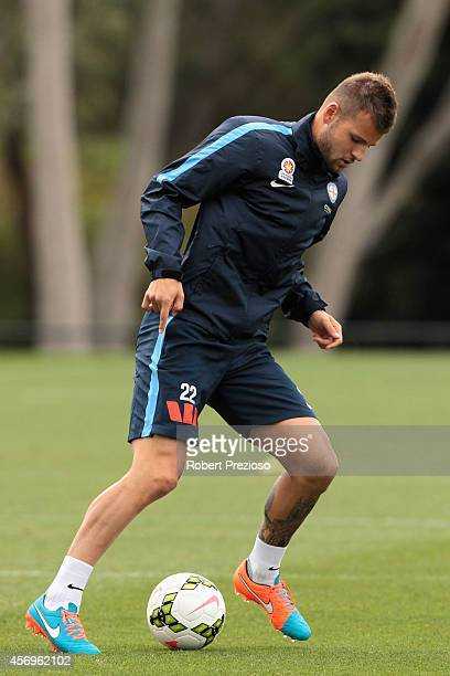 Nick Kalmar controls the ball during a Melbourne City ALeague training session at La Trobe University Sports Fields on October 10 2014 in Melbourne...