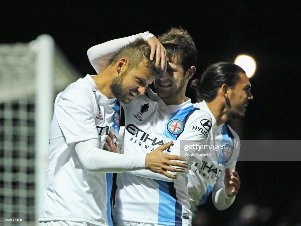 Nick Kalmar of City celebrates after scoring his teams first goal of the game during the FFA Cup match between Melbourne City and Sydney FC at Morshead Park Stadium on August 12, 2014 in Ballarat, Australia.
