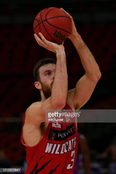 Nick Kay of the Wildcats shoots a free throw during game three of the NBL Grand Final series between the Sydney Kings and Perth Wildcats at Qudos...